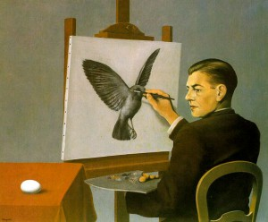 Clairvoyance, self-portrait by Rene Magritte